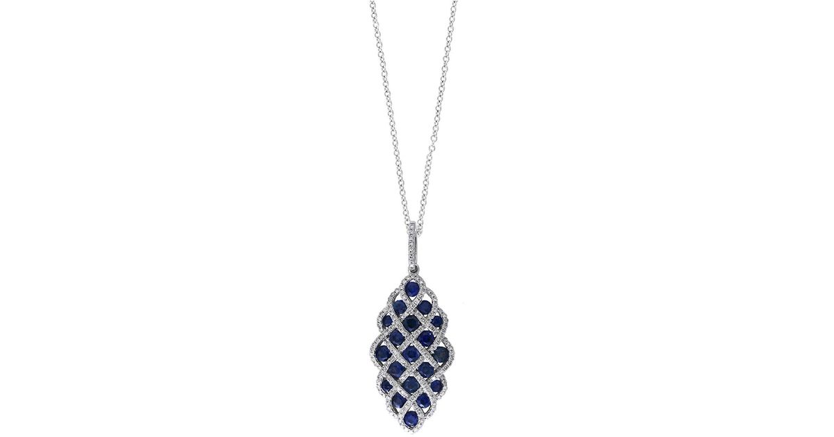 Lyst effy royale bleu sapphire diamond and 14k white gold lattice lyst effy royale bleu sapphire diamond and 14k white gold lattice pendant necklace 049tcw in blue aloadofball Image collections