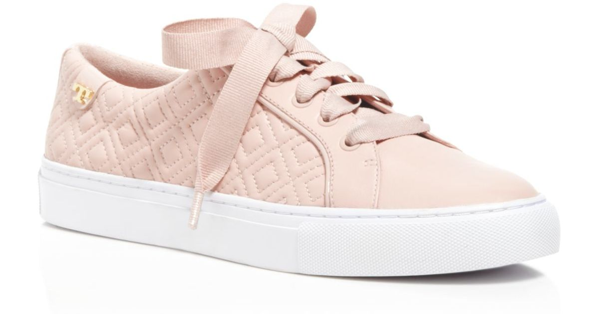 ee8a79b5eddd Lyst - Tory Burch Marion Quilted Lace Up Sneakers in Pink