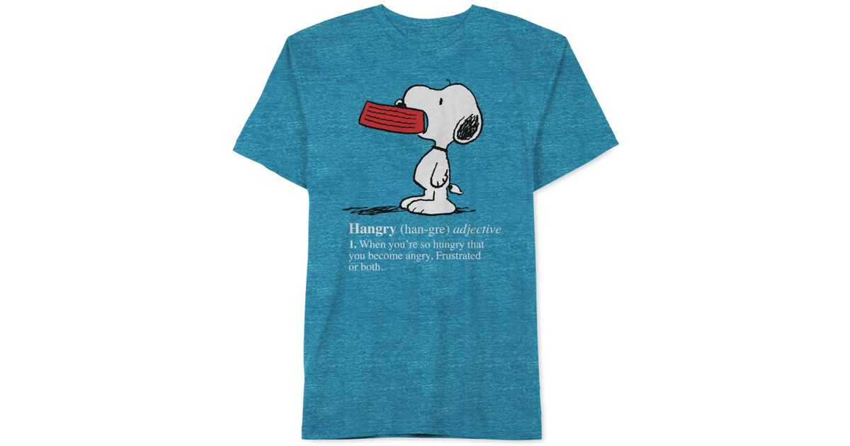 jem peanuts hangry snoopy t shirt in blue for men navy save 24. Black Bedroom Furniture Sets. Home Design Ideas