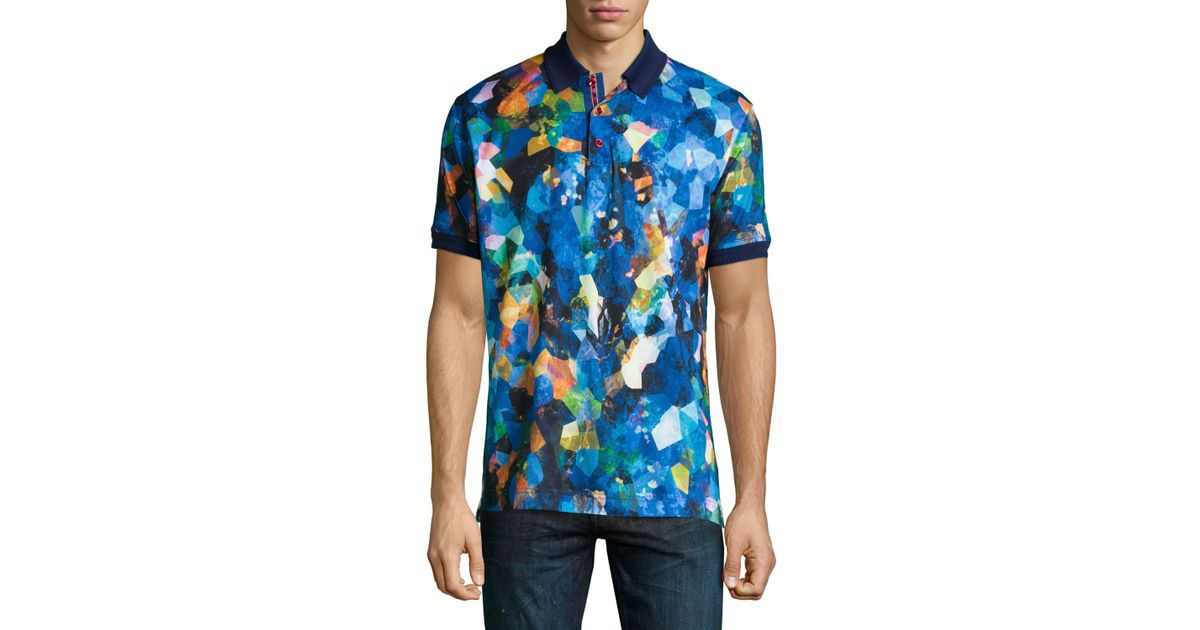 38af5c03 Robert Graham Royal Charter Printed Short-sleeve Polo Shirt in Blue for Men  - Lyst