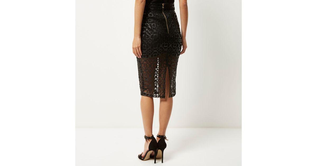 026a5bf226 River Island Black Laser Cut Mesh Pencil Skirt in Black - Lyst