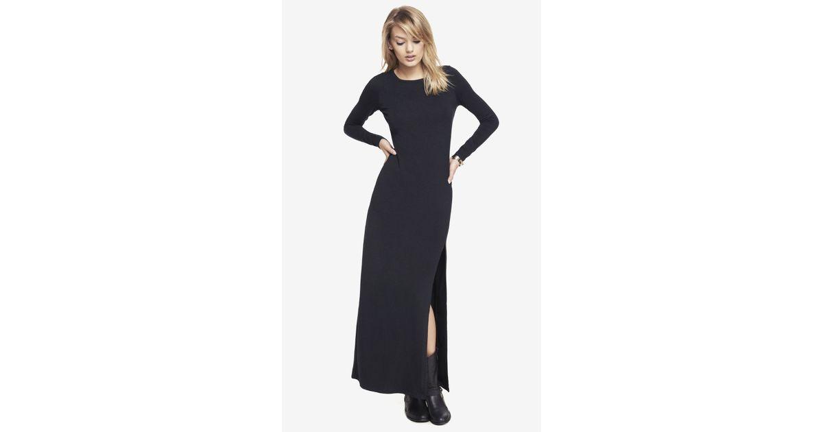 02dee2e711 Express Long Sleeve Slit Front Maxi Dress in Black - Lyst