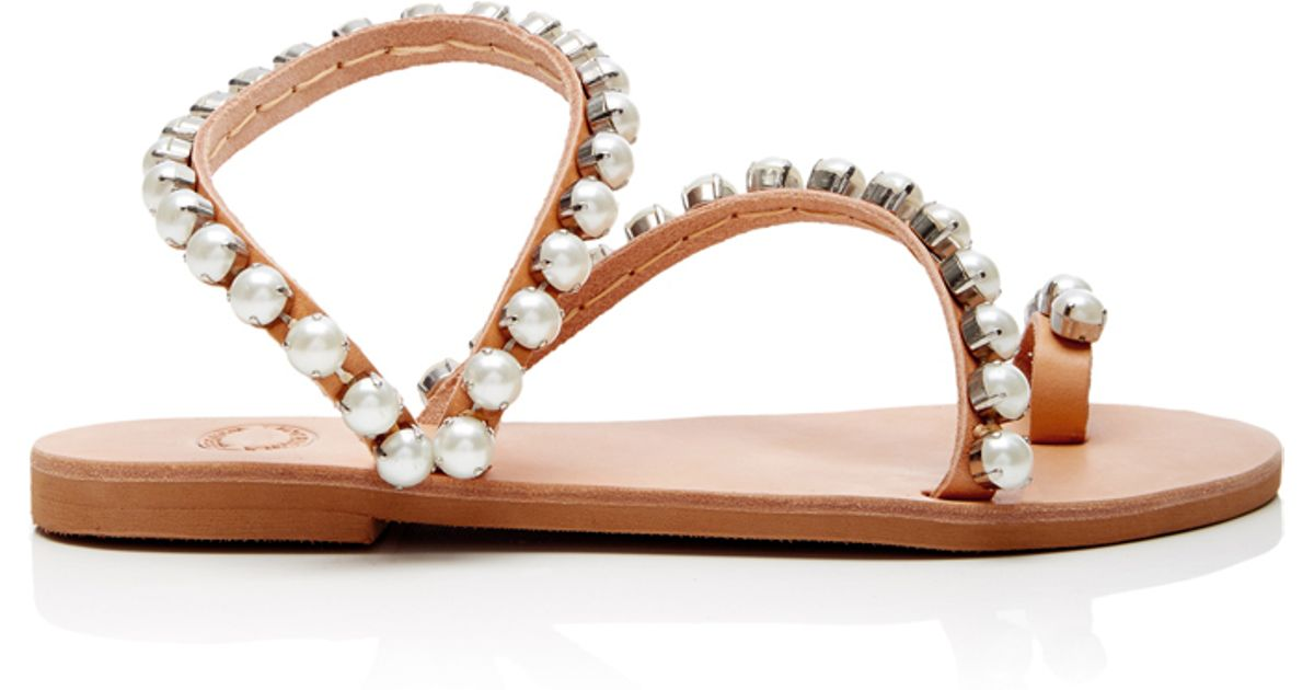 Lyst - Elina Linardaki Leather And Pearl Wrap Sandals in Brown