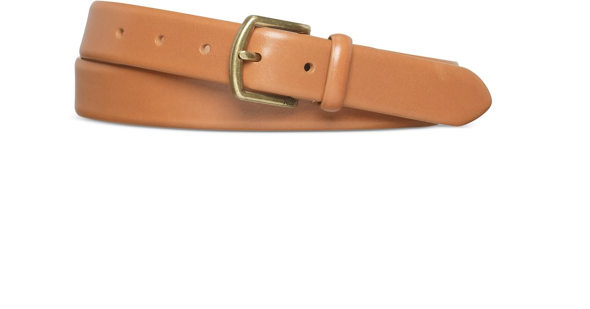 polo ralph leather dress belt in brown lyst