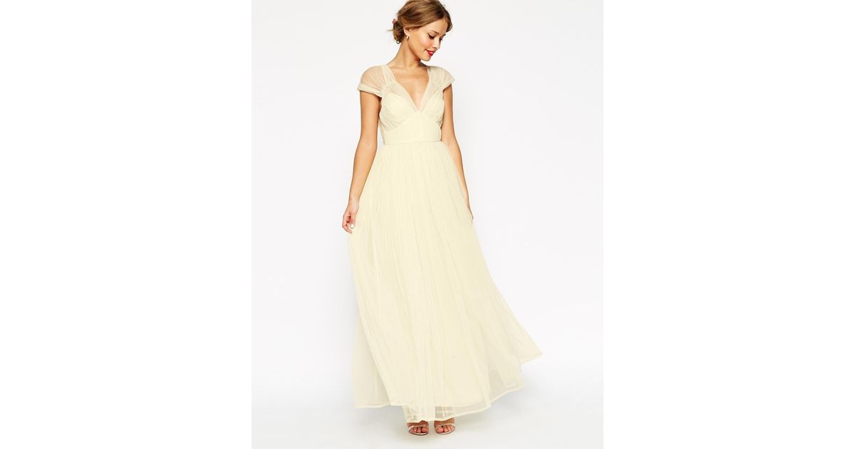 Asos Wedding Ruched Mesh Panel Maxi Dress In Natural Lyst