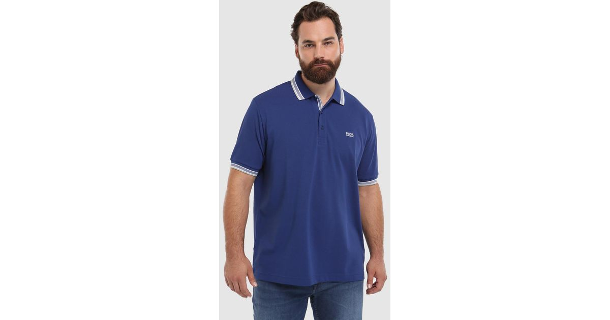 fa493c731 Lyst - BOSS Big And Tall Blue Short Sleeve Piqué Polo Shirt in Blue for Men