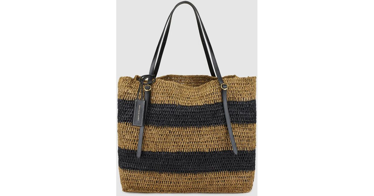 f368c389b Polo Ralph Lauren Two-tone Tan And Navy Blue Striped Raffia Tote Bag in Blue  - Lyst