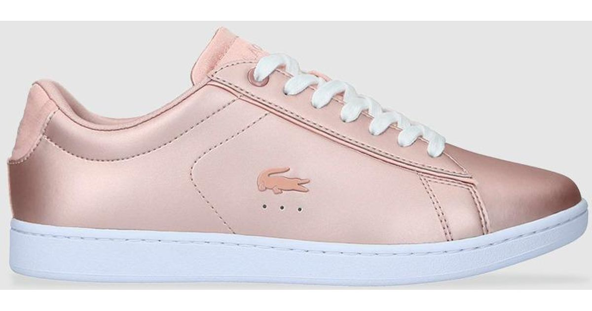 0f03ad08f1e6 Lyst - Lacoste Pink Leather Trainers With Logo in Pink