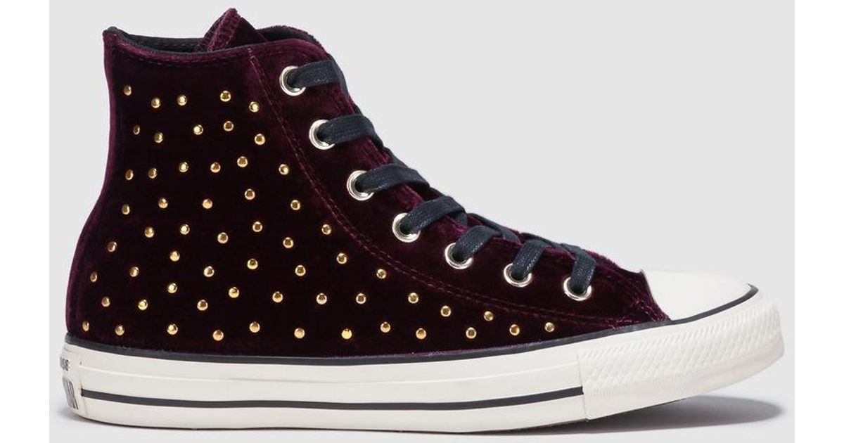 8f2dd8b2ae18 Converse Chuck Taylor All Star Velvet Studs Maroon Velvet Trainers With  Studs - Lyst