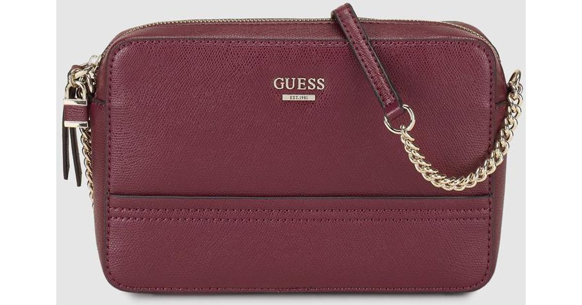 56bfd85fa8 Guess Wo Burgundy Faux Saffiano Leather Crossbody Bag - Lyst