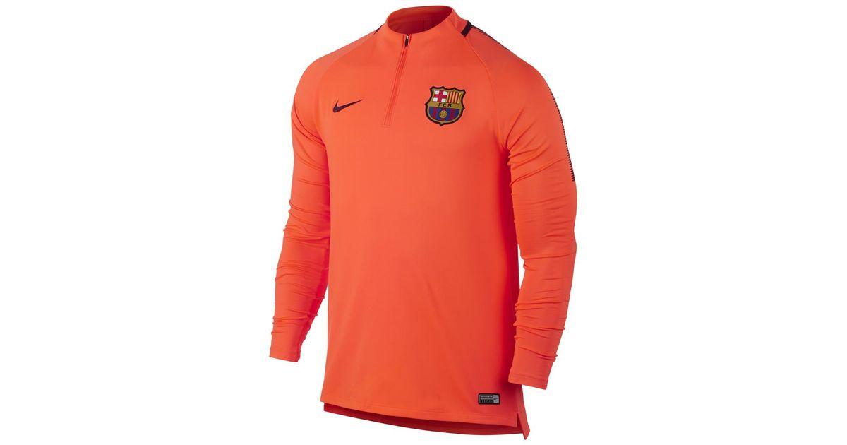 170d3bd00 Nike Fc Barcelona Dry Squad Drill Men s Soccer Top in Orange for Men - Lyst