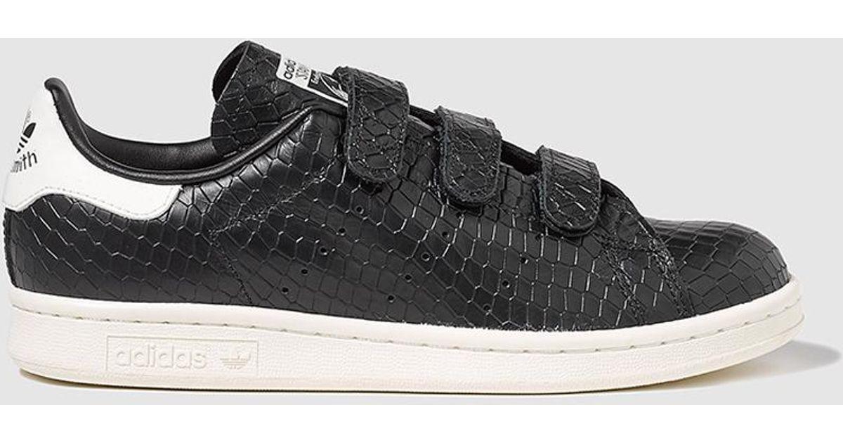 best service cbd52 adad4 Adidas Originals Originals Stan Smith Black Trainers With Triple Velcro in  Black - Lyst