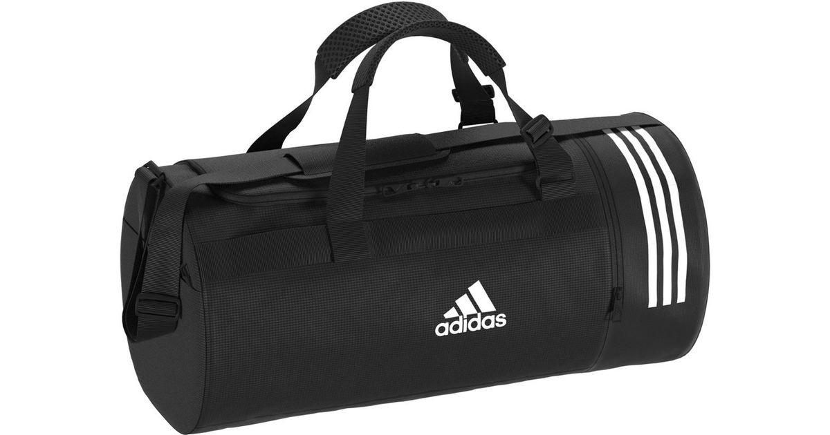 02fab20153 Lyst - adidas Convertible 3 Stripes Duffel M Sports Bag in Black for Men