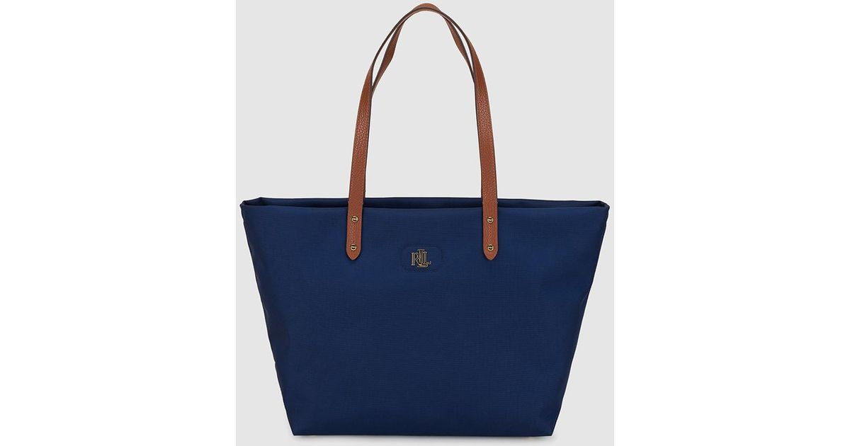 Lauren By Ralph Navy Blue Nylon Tote Bag With Gold Initials In Lyst