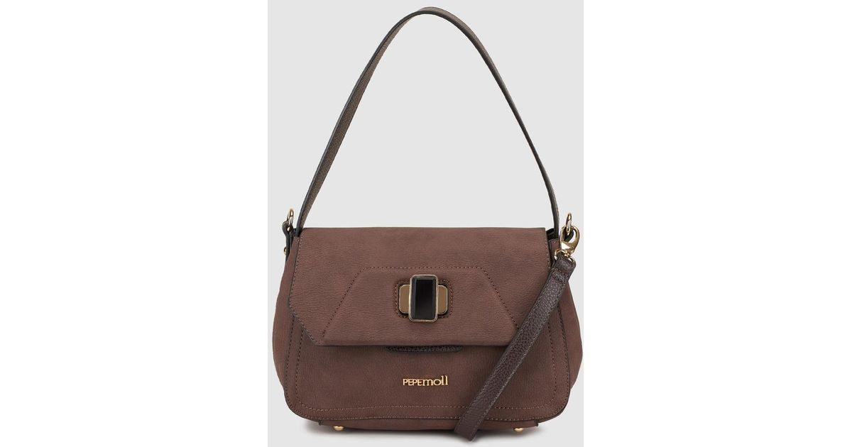 7ec12d0d49f2 Pepe Moll Brown Shoulder Bag With Metallic Brand Appliqué in Brown - Lyst