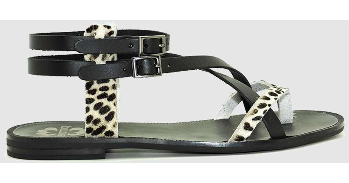 4d37690b Porronet Black Animal Print Flat Sandals in Black - Lyst