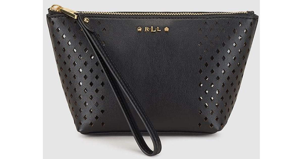 369377297d Lyst - Lauren By Ralph Lauren Black Cutwork Toiletry Bag With Zip in Black