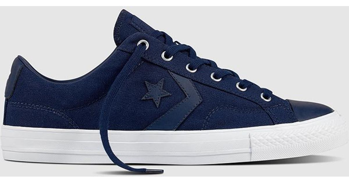 80bcf236a2e Lyst - Converse Star Player Navy Blue Canvas Trainers in Blue for Men