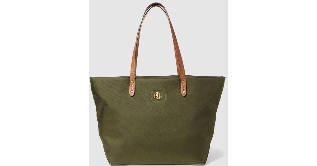 be989d1ff5 Lauren by Ralph Lauren Green Nylon Tote Bag With Zip in Green - Lyst