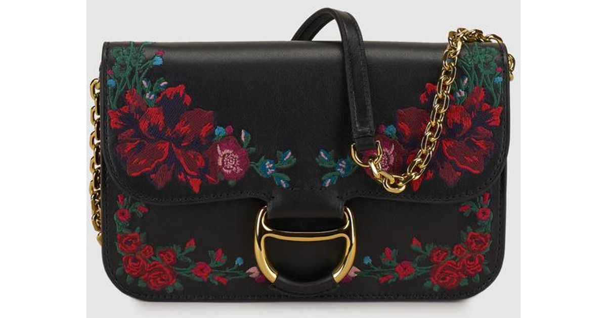 Lyst Polo Ralph Lauren Wo Black Leather Crossbody Bag With Fl Embroidery In
