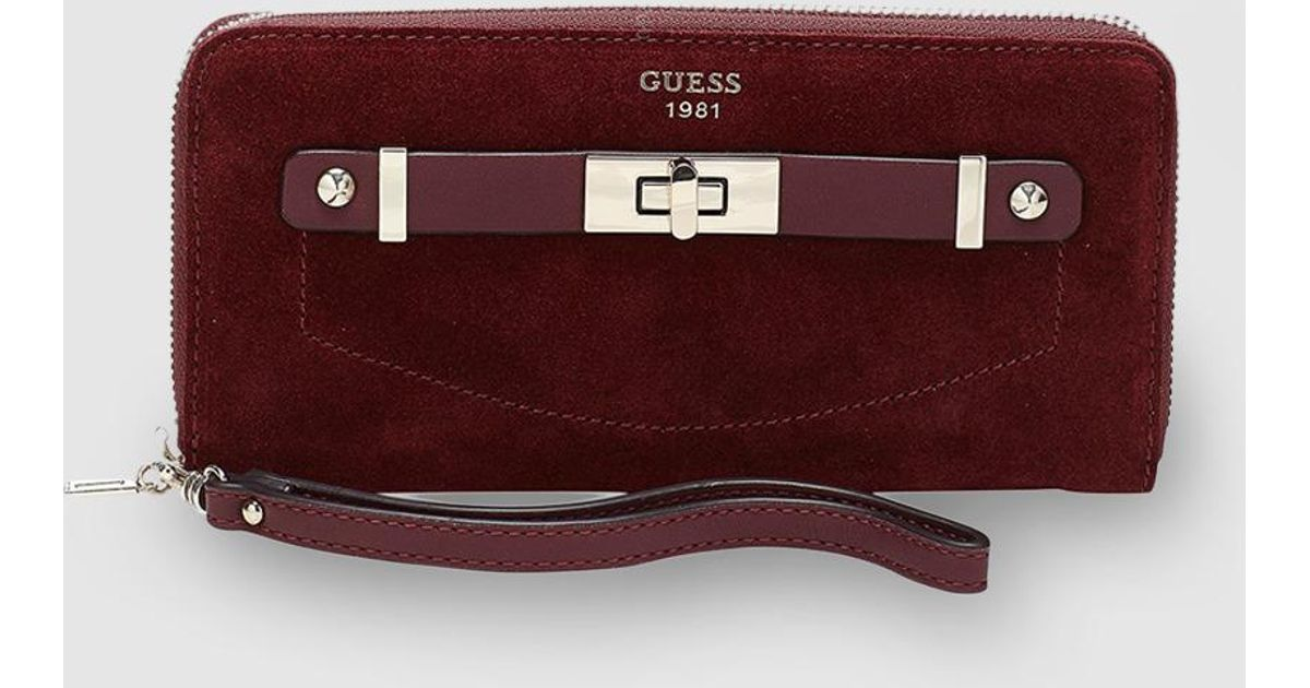 f6cf25a127 Lyst - Guess Kingsley Burgundy Wallet