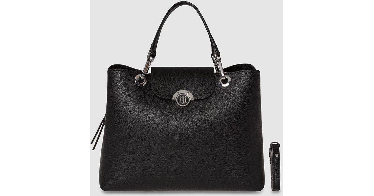 a8adf26dcf90ec Tommy hilfiger Large Black Handbag With Reversible Flap in Black | Lyst
