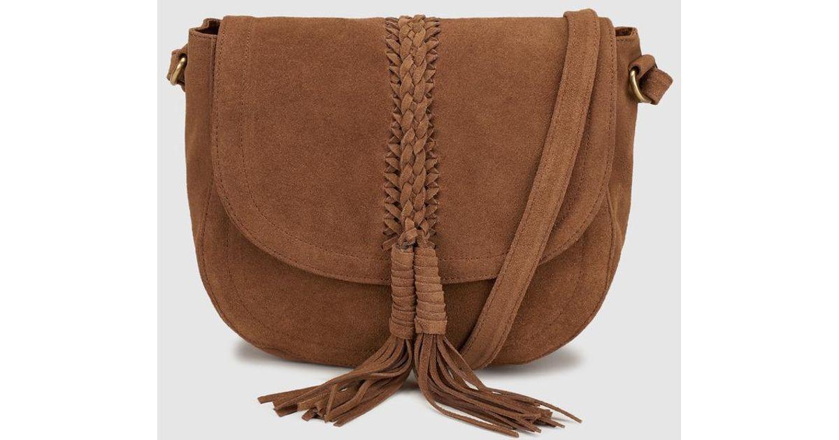 ac85abbdd Couchel Wo Suede Camel Crossbody Bag With Tassels in Brown - Lyst