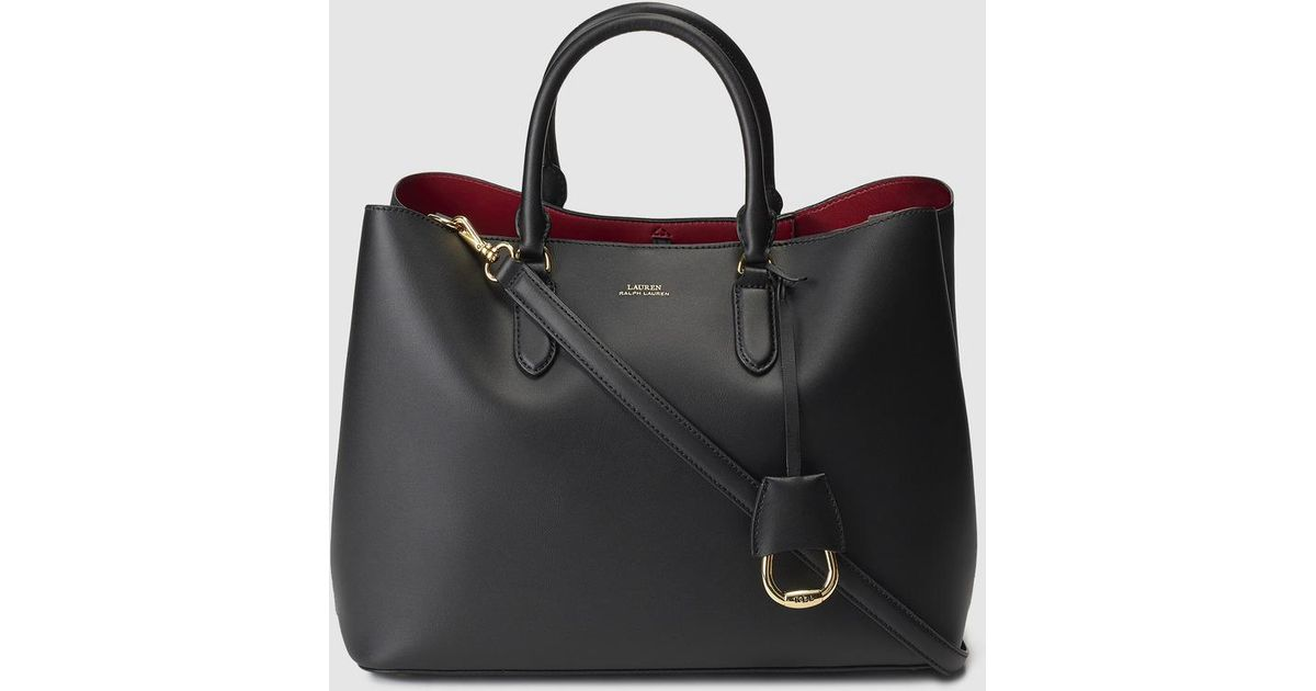 6ff7afd064d0 Lauren by Ralph Lauren Black Leather Handbag With Red Interior in Black -  Lyst