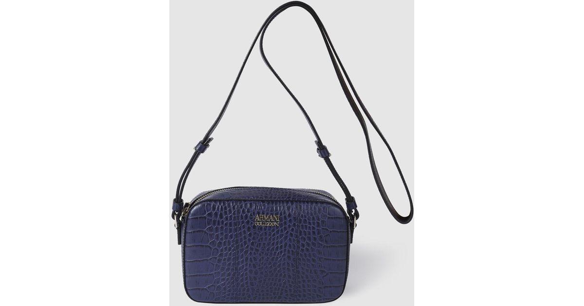 1935f3903b35a Armani Wo Small Navy Blue Leather Crossbody Bag in Blue - Lyst