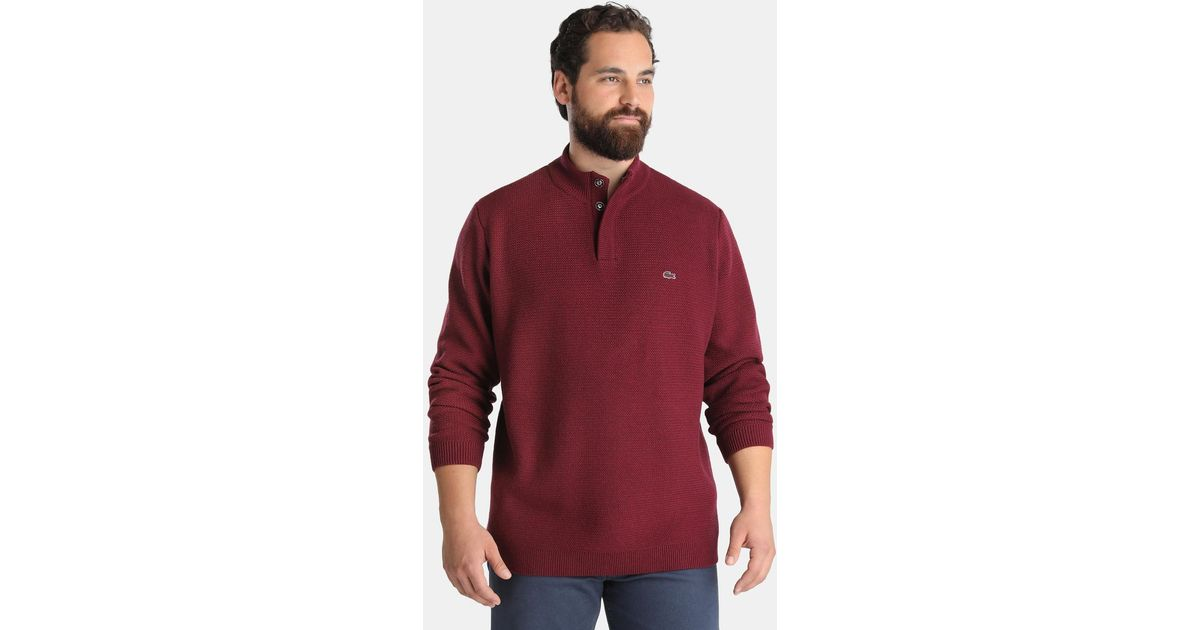 Lyst Lacoste Big And Tall Maroon Polo Neck Sweater In