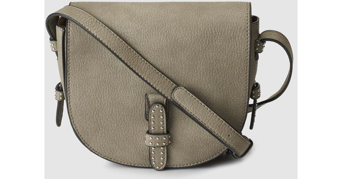 Lyst - El Corte Inglés Small Khaki Crossbody Bag With Silver Studs in  Natural f573769f95ddf