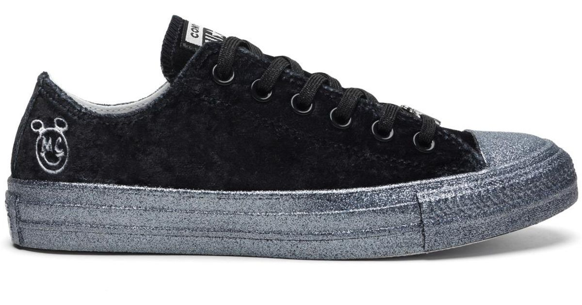 22dd1bd701bc Converse Chuck Taylor All Star X Miley Cyrus Casual Low Velvet Trainers in  Black - Lyst