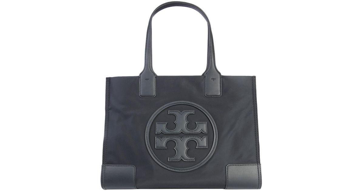 9ed742763 Tory Burch Mini Ella Technical Fabric Tote Bag With Logo in Black - Lyst