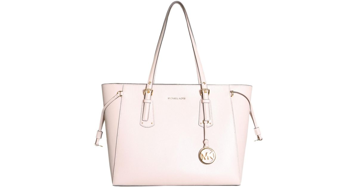 f470d9a902d7 Lyst - MICHAEL Michael Kors Voyager Medium Leather Tote in Pink