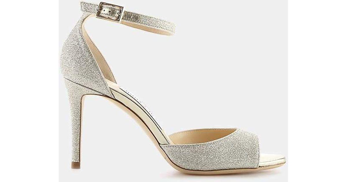 343e8d0f64f Lyst - Jimmy Choo Annie 85 Glitter Ankle-strap Sandal in Metallic - Save 30%