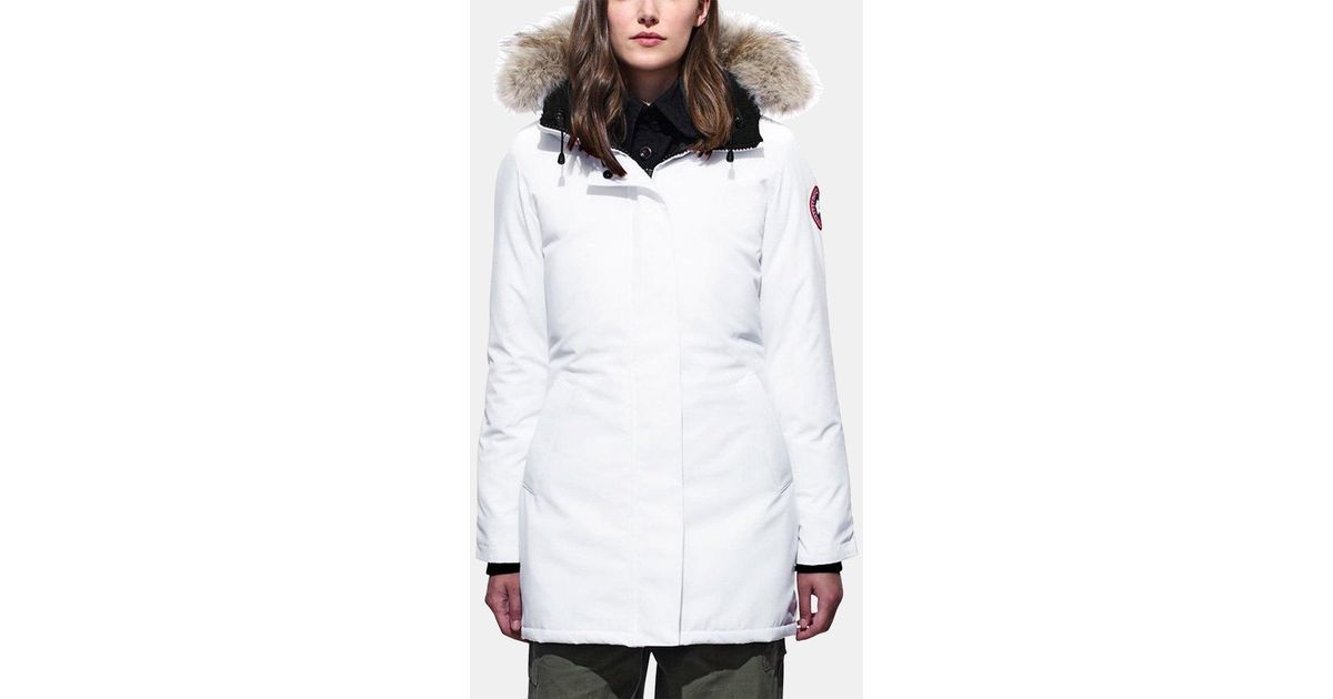 Canada Goose Victoria Fur trimmed Parka in White Lyst