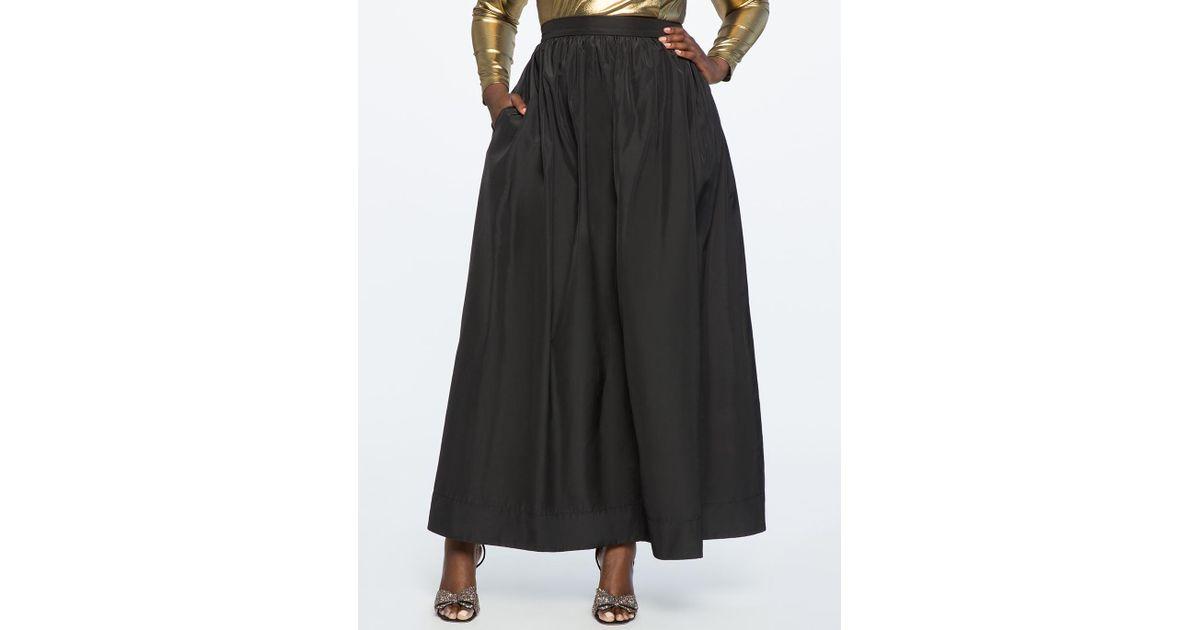 Lyst - Eloquii Taffeta Ball Gown Maxi Skirt in Black