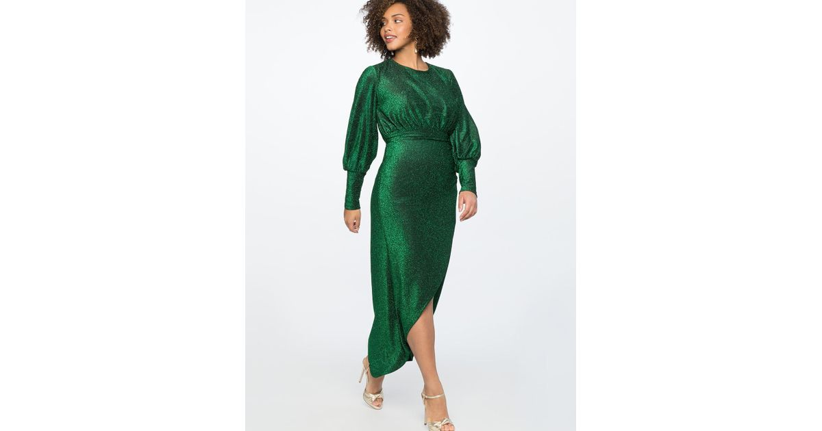 c4d2d026ce3 Lyst - Eloquii Sparkle Maxi Dress With Wrap Skirt in Green