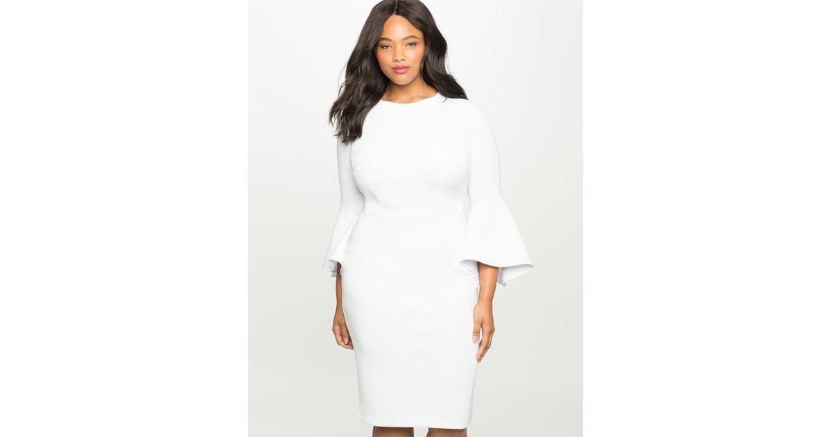 f98f65d67d1fdf Lyst - Eloquii Flare Sleeve Scuba Dress in White