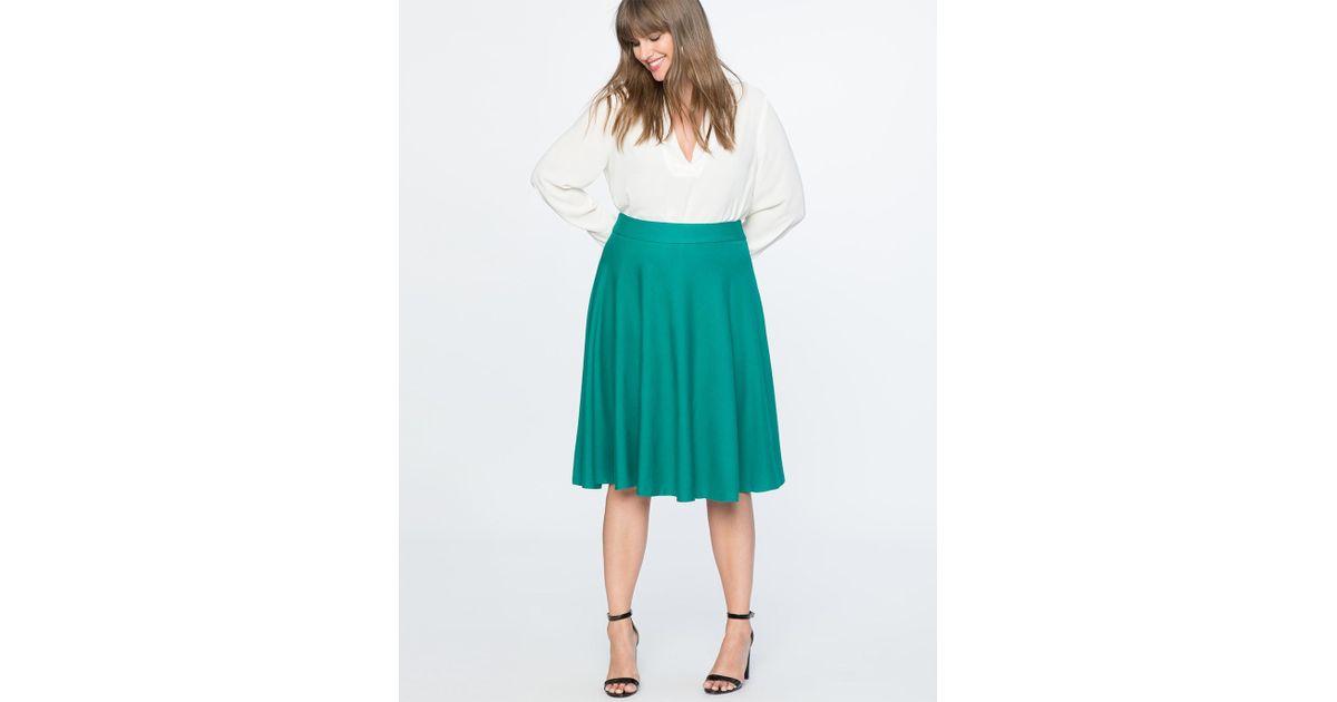 4b120ef81 Eloquii Ponte Circle Skirt in Green - Lyst