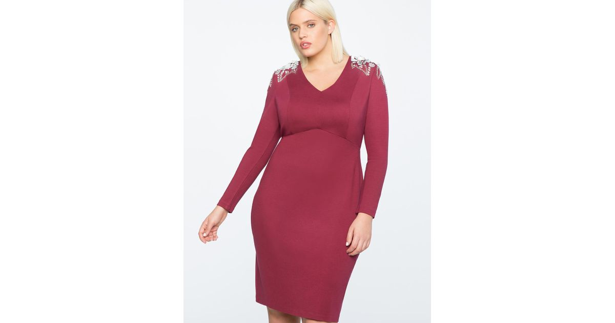 54f6cefcfe Lyst - Eloquii Fitted Dress With Shoulder Embellishment in Red