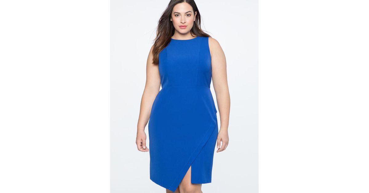 dc91e7d8c14 Lyst - Eloquii Shift Dress With Asym Wrap in Blue