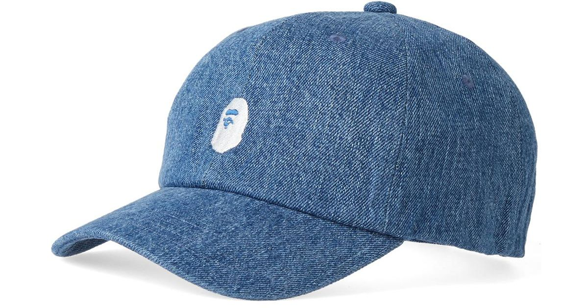 2a418609888 Lyst - A Bathing Ape Ape Head Embroidery Panel Cap in Blue for Men