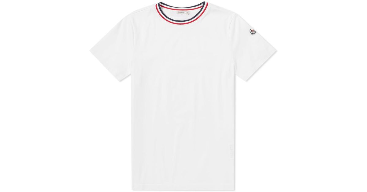 c84aeec5e Lyst - Moncler Maglia Tricolour Collar Tee in White for Men
