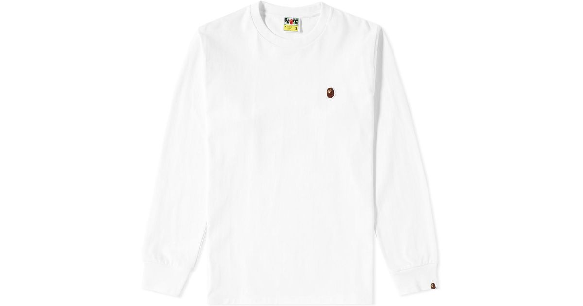 14af6b86 Lyst - A Bathing Ape Long Sleeve One Point Tee in White for Men