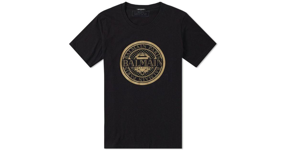 891e7c8c Balmain Gold Circle Logo Tee in Black for Men - Lyst