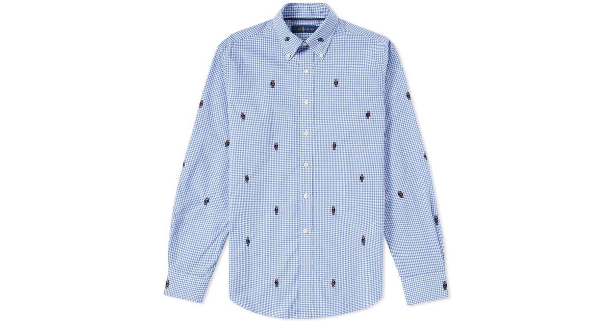 edde4ec46 Polo Ralph Lauren Bear Jacquard Gingham Poplin Shirt in Blue for Men - Lyst