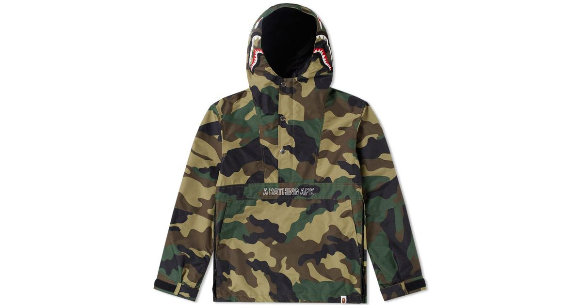 32f7051096b Lyst - A Bathing Ape Pullover Shark Hooded Jacket in Green for Men