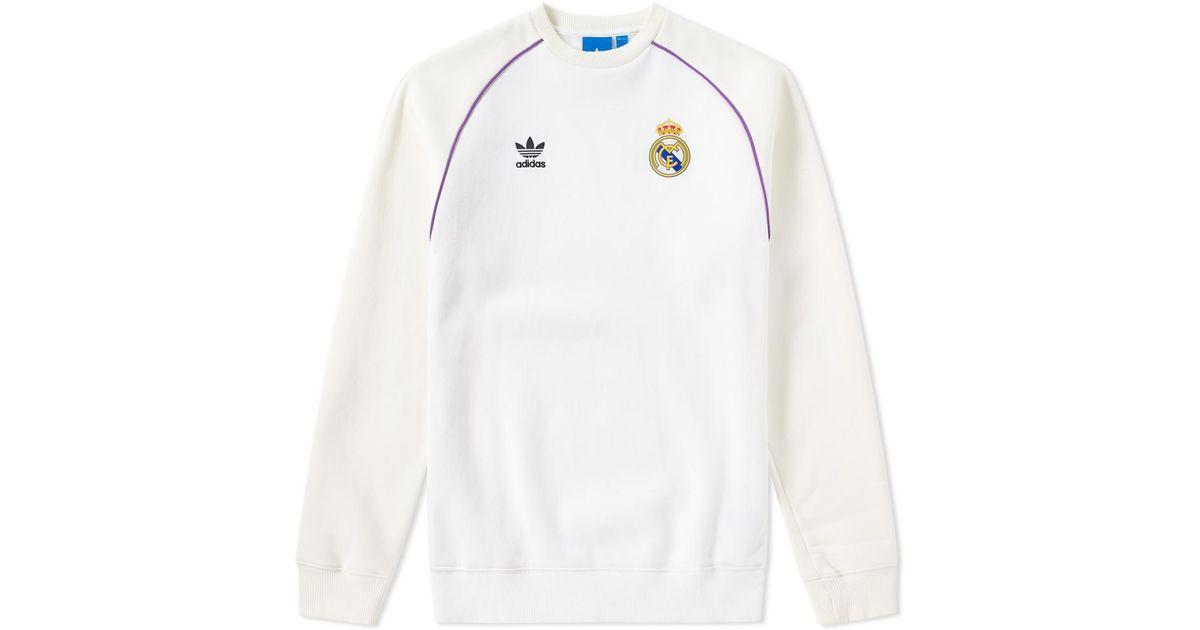 bc4d4ca8dd6 Lyst - adidas Originals Real Madrid Crew Sweat in White for Men
