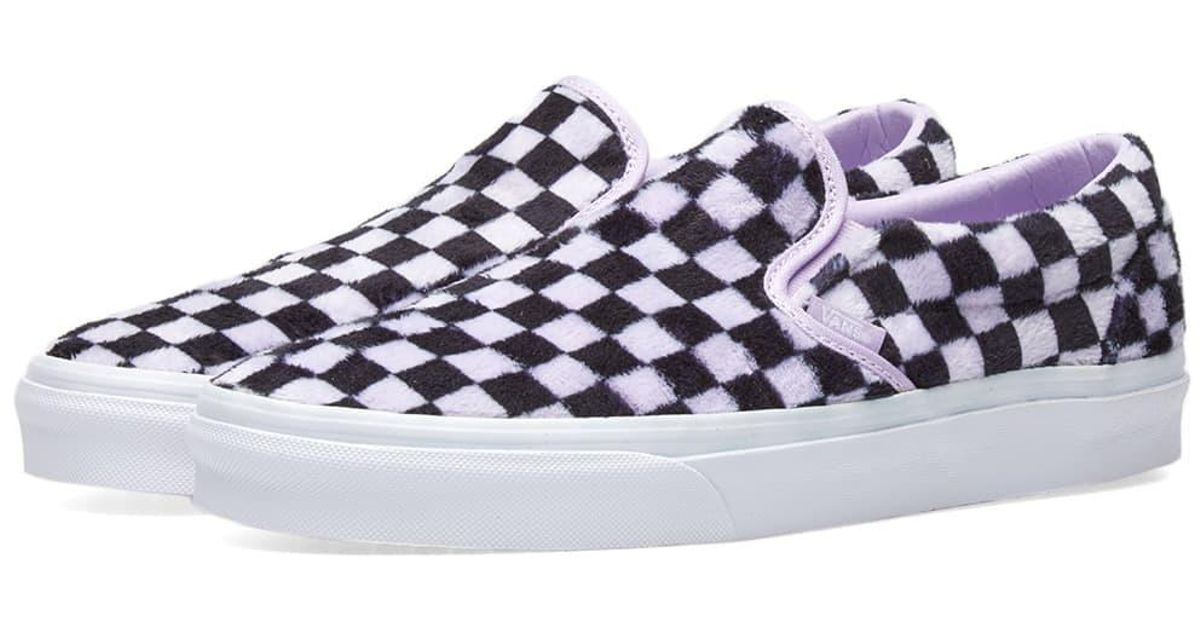 629d2e53e143 Vans Women s Ua Classic Slip On Furry Checkerboard in Purple - Lyst